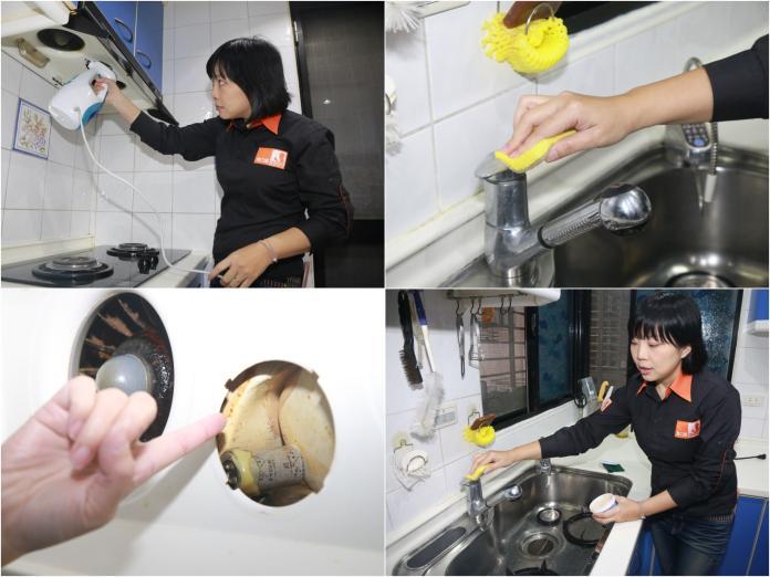 ▲廚房打掃注重油汙、水垢。(圖/記者葉政勳攝影)