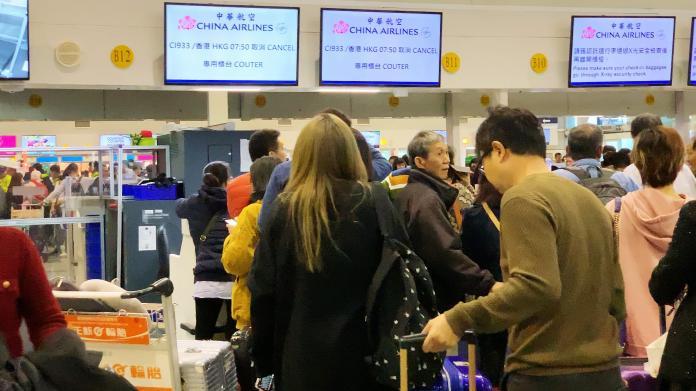 ▲華航罷工,高雄小港機場首當其衝,記者現場直擊。(圖/郭俊暉攝)