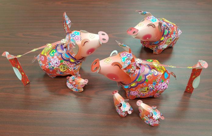 基隆豬年小提燈「花布招財」