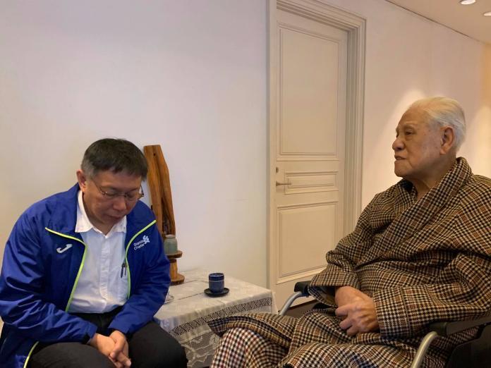台北市長柯文哲12日下午前往翠山莊探視前總統李登輝。(圖/柯文哲臉書)