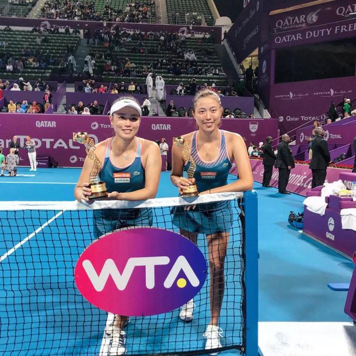 ▲詹家姊妹詹詠然(左)、詹皓晴勇奪卡達女網冠軍。(圖/取自詹詠然臉書)
