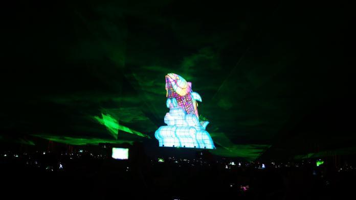 ▲2019台灣燈會以「巨鮪來富」的主燈秀最受矚目。(圖/記者郭凱杰攝,2019.02.19)
