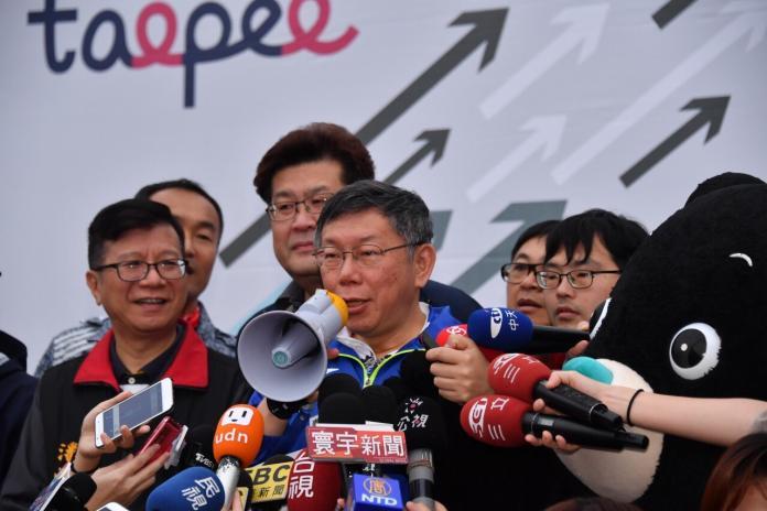 台北市長柯文哲28日再度挑戰一日北高自行車活動,並希望將傳 自行車產業發揚光大。(圖/北市府提供)
