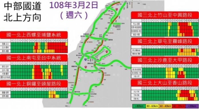 <br> ▲高公局預估今(2)日中部國道易塞路段。(圖/翻攝自高公局網站)