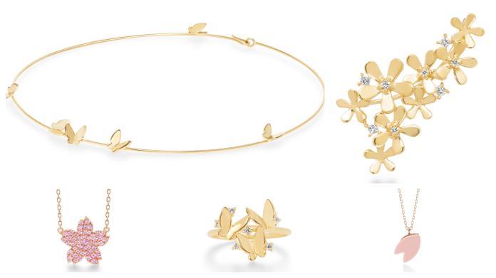 <br> 全新春夏以 flowers 夢幻花園為主題,擁有 full bloom、fleur brillant、papillon brilliant 系列珠寶,以及甜美粉嫩的 sakura 櫻花系列。圖@Ahkah