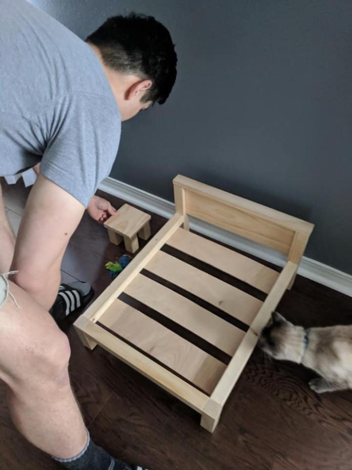 克里斯巧手為愛貓打造貓床,還貼心地附了小茶几!(圖/FB@Julia Carlson)