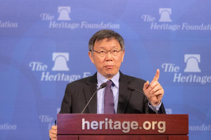 台北市長柯文哲三月訪美,圖為於傳統基金會演說。( 圖 / 台北市政府提供 )