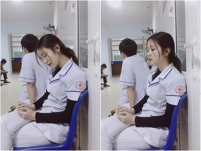 ▲正妹護理師打盹模樣迷倒大批網友。(圖/翻攝自臉書)