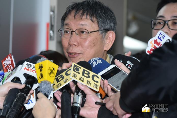 台北市長柯文哲結束9天8夜訪美行程後首度接受媒體聯訪。(圖/記者林柏年攝,2019.3.25)