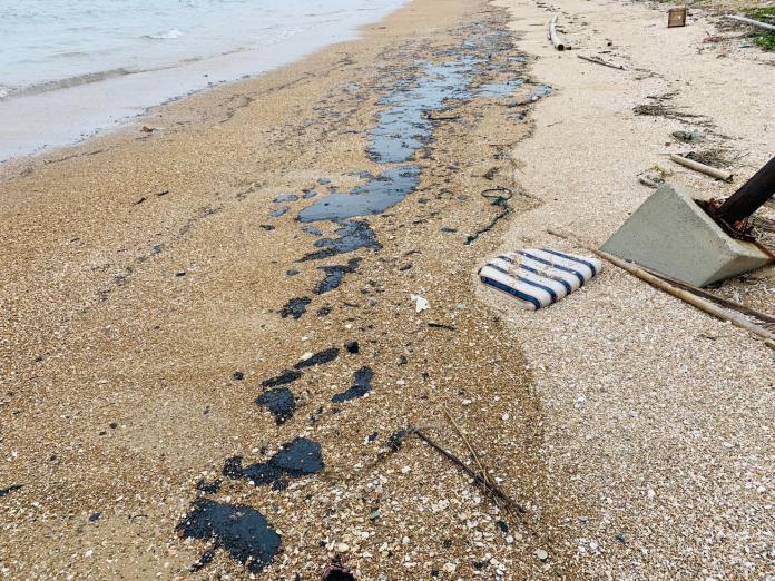 金門東北角岸際遭廢油泥汙染 疑大陸船隻偷排放