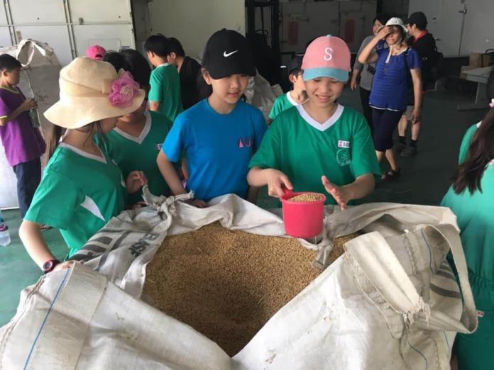 <br> ▲小朋友參觀校內碾米設施,了解稻穀如何脫殼變白米。(圖/記者陳雅芳攝,2019.03.30)