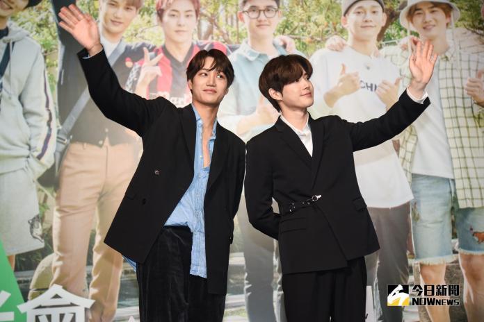 EXO成員Kai及Suho來台。(圖/記者陳明安攝,2019.03.30)