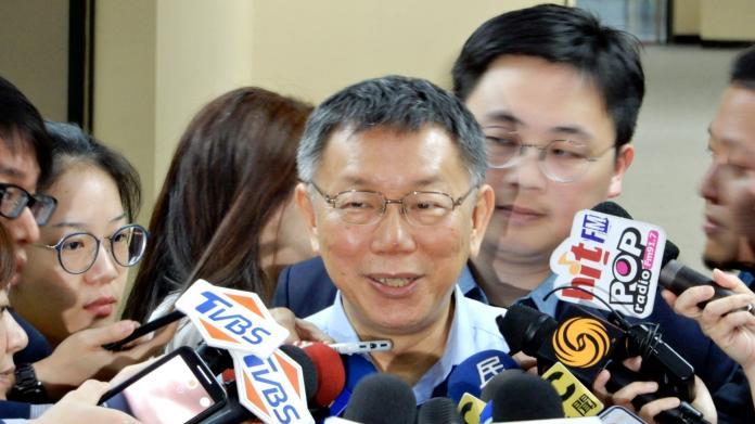 ▲台北市長柯文哲11日在市府接見來訪的上海市台辦主任李文輝。(圖
