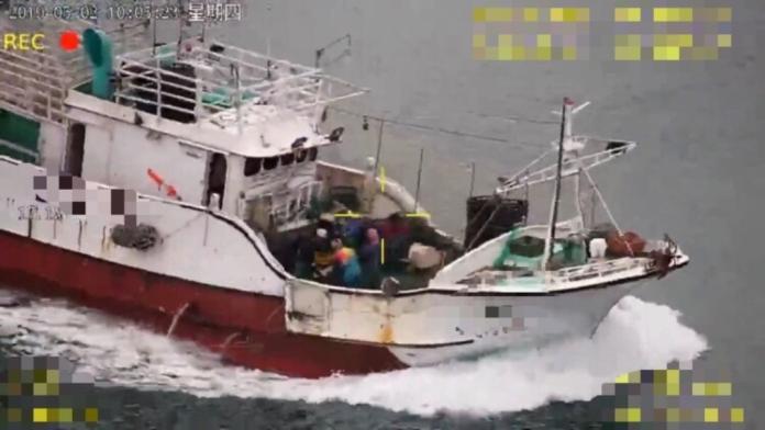 影/海巡署無人機 查獲「慣犯」漁船違規作業