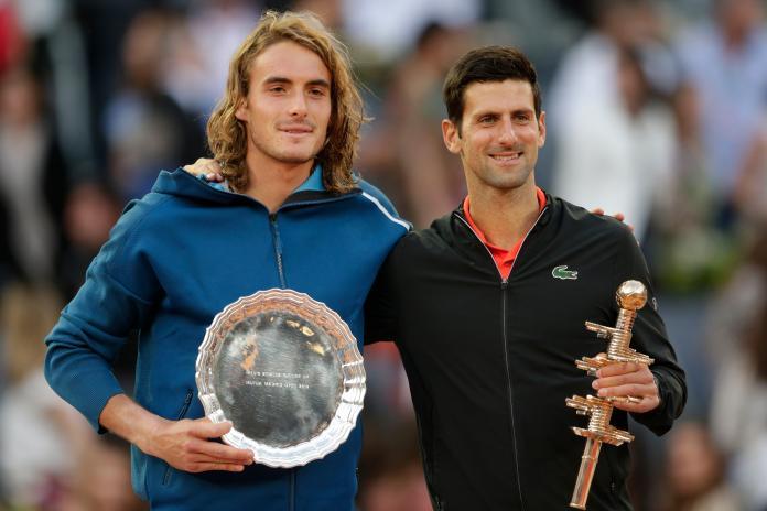 ▲塞爾維亞球王Novak Djokovic(右)擊敗希臘小子Stefanos Tsitsipas奪冠。(圖/美聯社/達志影像)