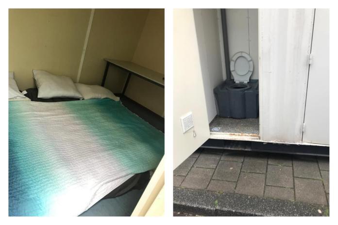▲史波勒在 Airbnb 下訂了一間附有私人衛浴的套房,抵達指定地後卻始終找不到該套房,最後發現套房竟然就是位在路邊的「貨櫃」,當場被嚇傻。(圖/翻攝自臉書 The Spurs Show )