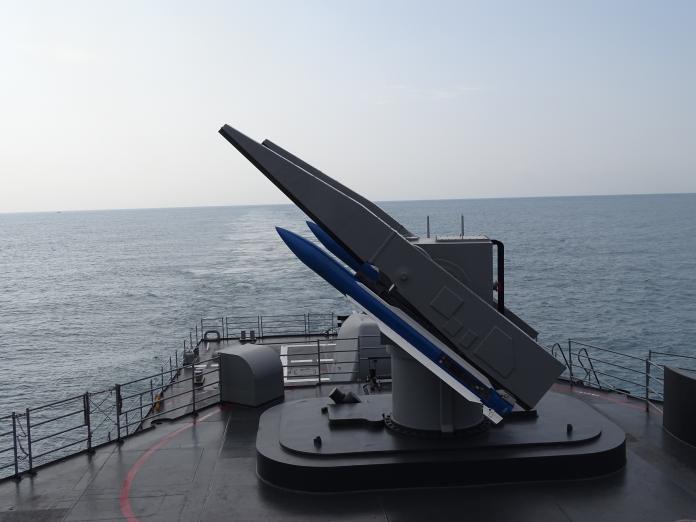 ▲海軍22日在東部進行實彈軍演,紀德級左營軍艦標準二型飛彈模擬敵機來襲警戒。(圖/記者呂炯昌攝, 2019.5.22)