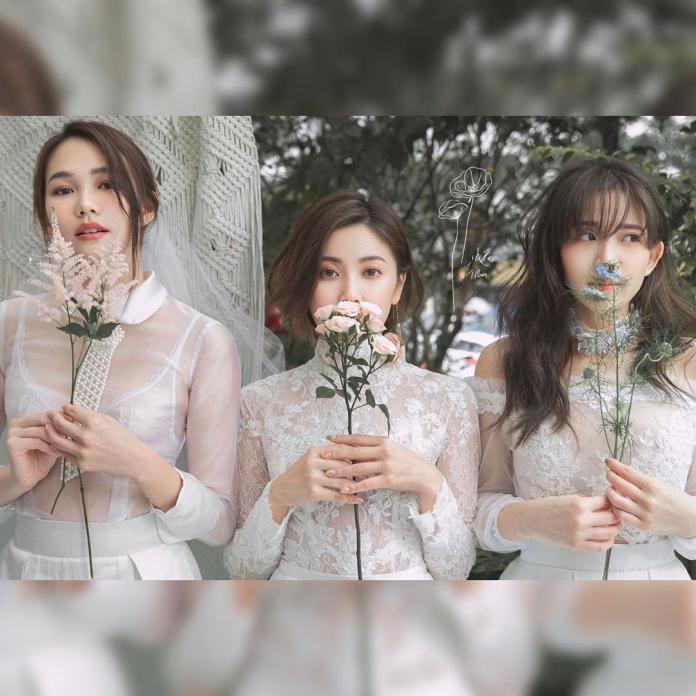 <br> ▲陳艾琳(右起)徐晞庭、陳韋利的姊妹婚紗走浪漫風。(圖/翻攝IG)