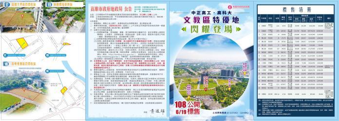 ▲高市地政局108年度第2季開發區土地標售。(圖/高市地政局提供)
