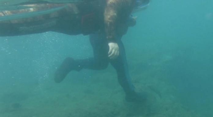 <br> ▲一名男子 10 日在小琉球花瓶岩附近海域浮潛時,疑似因為摸不到海龜,竟然直接「用腳狠踩」,其惡行都被一旁民眾拍下。(圖/翻攝自 Youtube)