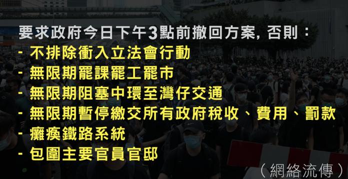 ▲香港示威群眾的Telegram通訊群組,流傳行動升級的訊息。(圖/翻攝網路)