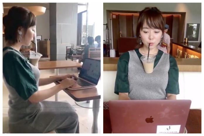 <br> ▲日本正妹大秀「巨乳 3 大優點」,其中把胸部當成杯架令許多網友看傻眼。(圖/翻攝自推特)