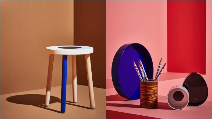 <br> ▲左:FÖRNYAD 椅凳,櫸木,白色 NT$1,290。右:FÖRNYAD 文具收納盒 4 件組,藍色 NT$290。(圖/IKEA提供)