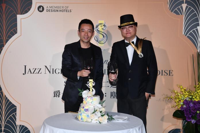 ▲汪小菲(左)出席S Hotel 2週年慶祝派對。(圖/林柏年攝2019.06.13)