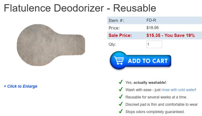 ▲此護墊並不便宜,一片定價 18.95 美元(約台幣 597 元)。(圖/翻攝自 Flat-D Innovations Inc 網站)