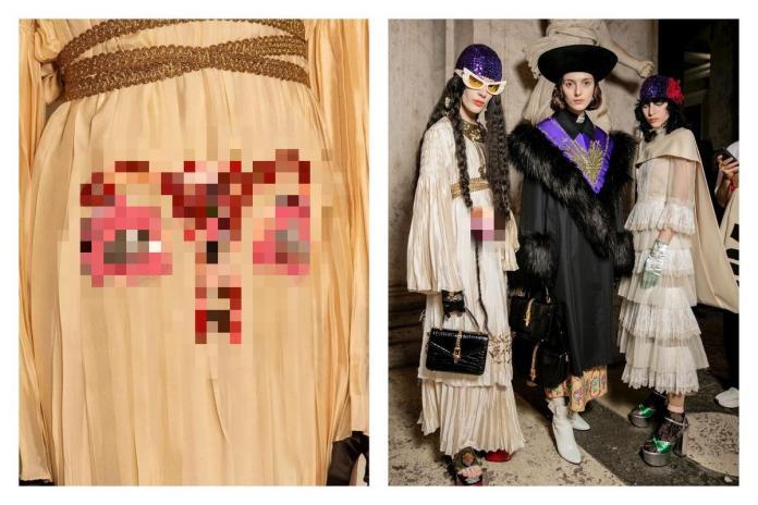 ▲子宮洋裝的評價兩極,有人砲轟不雅觀,也有人讚美理念。(合成圖/翻攝自 GUCCI IG )