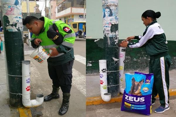 秘魯警察不捨浪浪挨餓 發揮創意設置自助餐飲站超暖心
