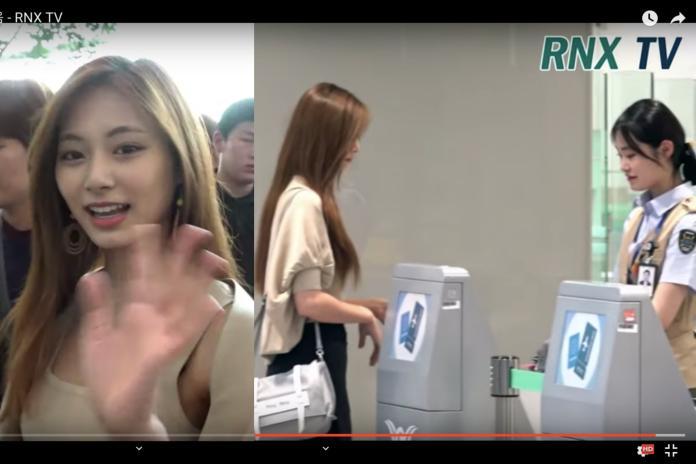 ▲機場女職員看到子瑜被美貌嚇到。(圖/RNX TV Korea Ent YouTube)