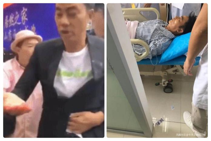 ▲港星任達華在中國大陸出席活動時,突遭男子刺傷,送醫後狀況穩定。(圖/截自微博)