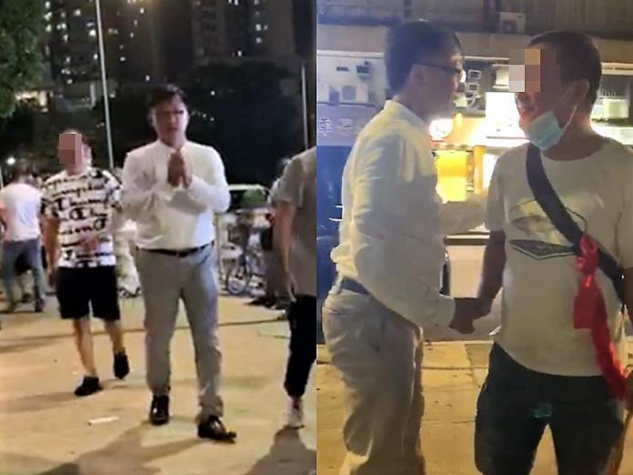 <br> ▲香港立法會議員何君堯,被鏡頭捕捉到與白衣人握手、有說有笑。(圖/翻攝自星島日報)