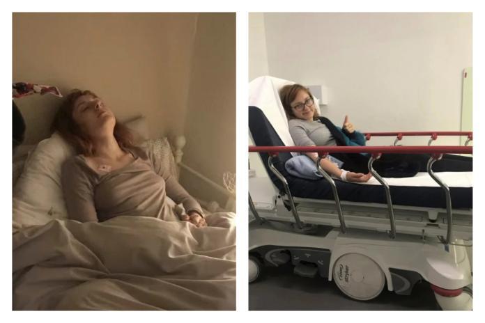 ▲斯蒂芬妮症狀發作時(左)、進行療程時(右)。(合成圖/翻攝自太陽報)