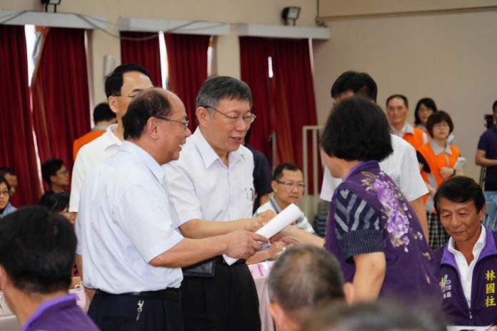 台北市長柯文哲參與士林區里長座談會。