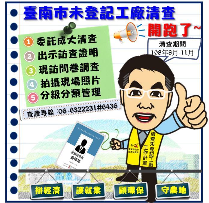 台南市政府開始全面清查未登記工廠