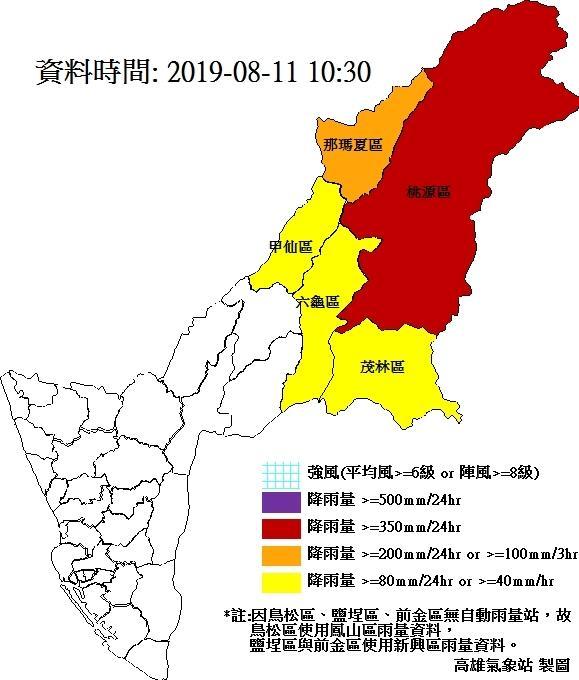 ▲高雄氣象站即時災害天氣訊息降雨量統計圖。(圖/高雄氣象站提供 , 2019.08.11)