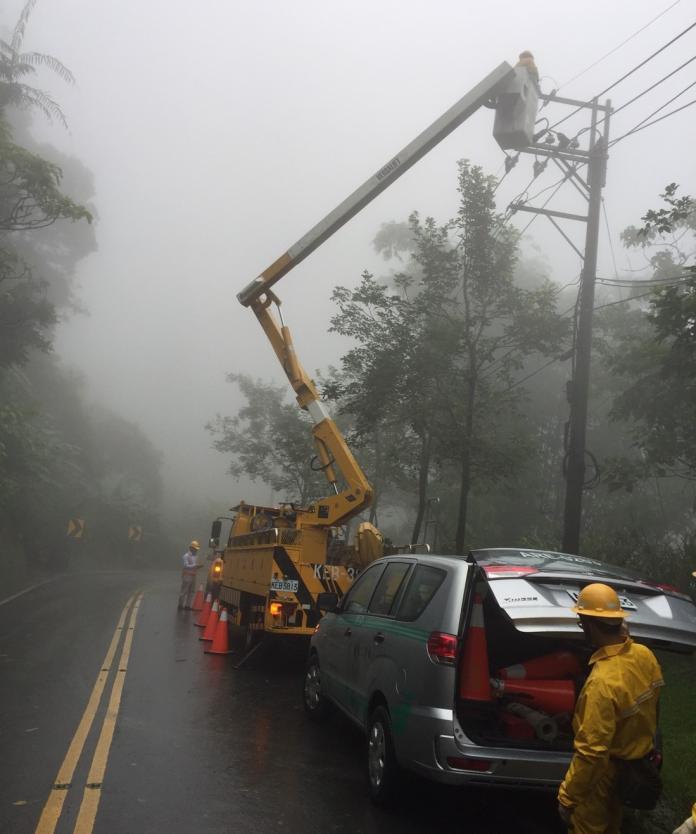 <b>利奇馬</b>颱風造成嘉義山區停電 台電嘉義緊急搶修復電