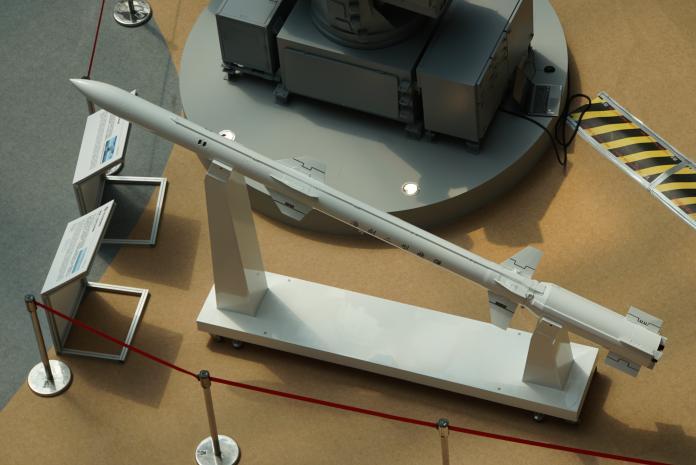 ▲2019年台北國際航太暨國防展,展出艦射型海劍二飛彈。(圖/記者呂炯昌攝)