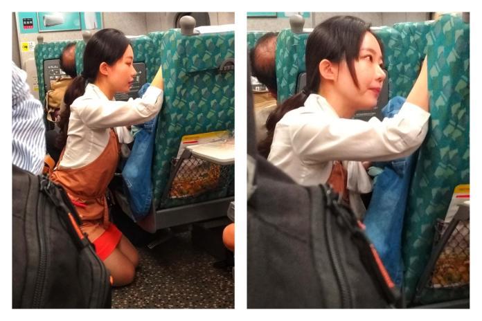 ▲網友分享高鐵服務員蹲在地上安慰情緒不穩乘客的畫面,大讚高鐵服務員「人美心更美」。(圖/翻攝自臉書爆怨公社二館)