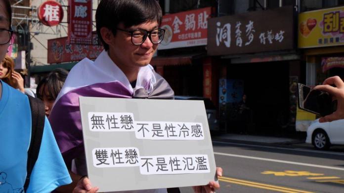 無性戀推廣團體舉牌上街,破除大眾對於『無性』的刻板印象。圖/無性臉小組提供