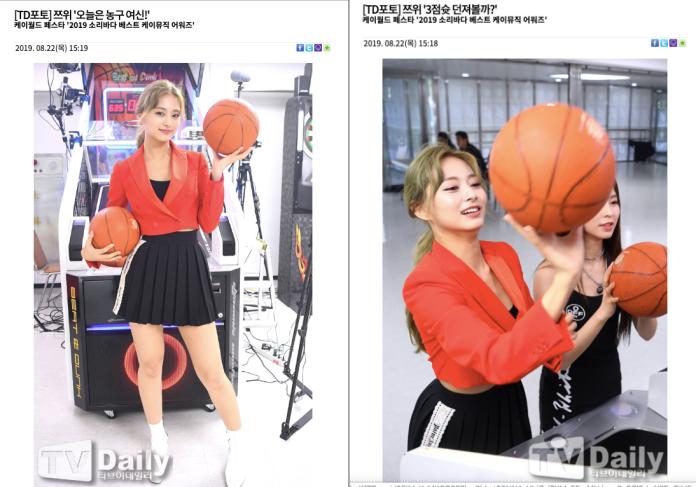 ▲子瑜投三分球(右)被記者封為「籃球女神」。(圖/翻攝TV Daily)