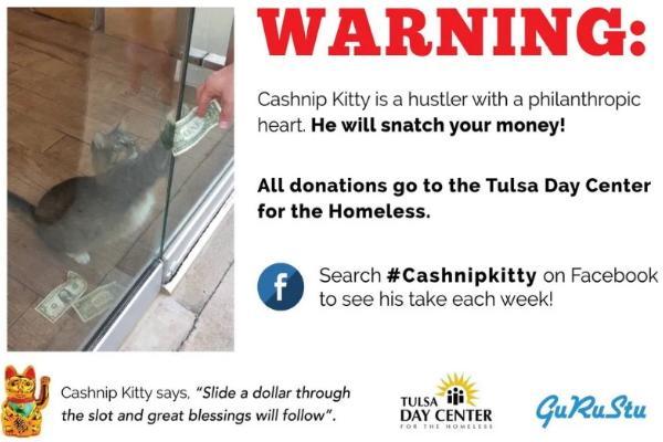 <br> 老闆史都華還在門口掛上「另類」警告:「Cashnip是一隻帶著慈悲心的小騙子,牠會抓住你的錢並捐給Tulsa收容機構。牠說:『只要你在縫隙中塞進一美元,就能得到很多祝福!』歡迎大家上粉絲團看看牠每一週的創舉!」,每天還是有不少人塞錢捐款。(圖/FB@CASHnip Kitty)