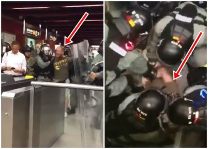 見人就抓!疑似<b>美國人</b>被港警押走 高喊:香港不是中國