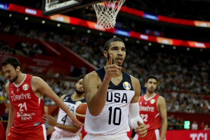▲首度入選成人國家隊的NBA 塞爾提克新星Jayson Tatum。(圖/美聯社/達志影像)