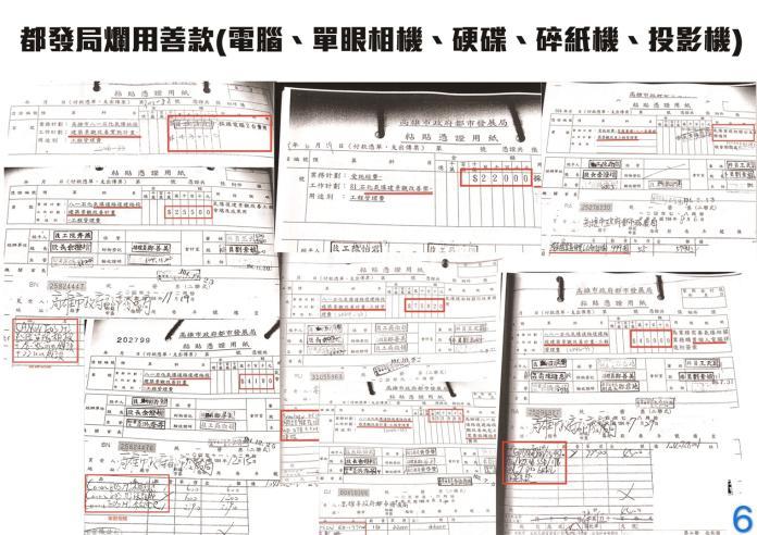 <br> ▲韓陣營公布高雄氣爆善款都發局濫用善款明細。(韓國瑜競選辦公室提供)