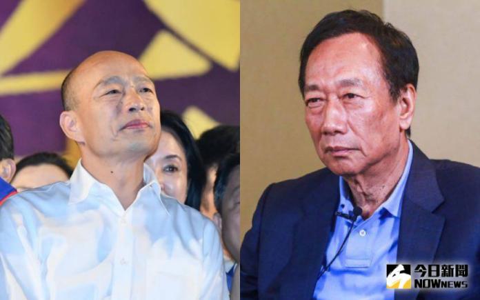 高雄市長韓國瑜與鴻海集團創辦人郭台銘。