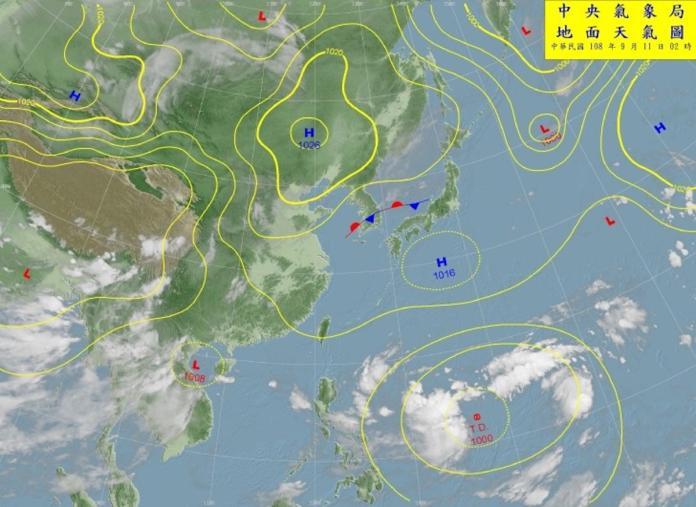 ▲根據中央氣象局指出,目前位於菲律賓東方海面的熱帶性低氣壓,在今(11)日或者周四(12 日)將可能增強為今年的第 16 號颱風「琵琶」(Peipah,澳門提供,指琵琶魚)。(圖/翻攝自中央氣象局)