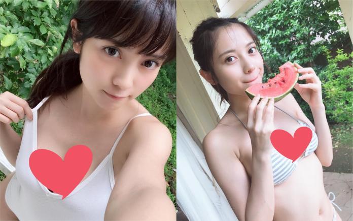 ▲網路上流傳一張可愛的正妹穿著比基尼吃著西瓜消暑的照片。(圖/翻攝 IG nashiko_cos)